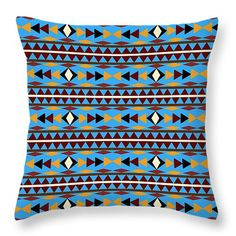"""#Navajo #Blue #Pattern 14"""" x 14"""" Throw #Pillow by Christina Rollo.  Our throw pillows are made from 100% cotton fabric and add a stylish statement to any room.  Pillows are available in sizes from 14"""" x 14"""" up to 26"""" x 26"""".  Each pillow is printed on both sides (same image) and includes a concealed zipper and removable insert (if selected) for easy cleaning."""