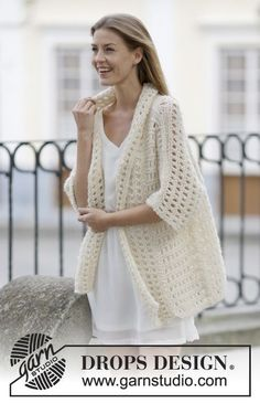 "Soft and pretty jacket with #lace pattern and shawl collar in ""Air"". New #FreePattern now available at #DROPSDesign"
