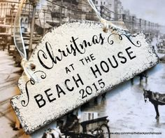 CHRISTMAS ORNAMENT  Beach House  Wood by thebackporchshoppe
