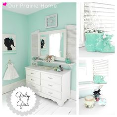 I basically just melted. SO cute! I might have to steal the color and window shutters on the mirror for a master bedroom.