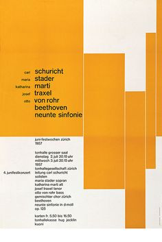 josef müller–brockmann, juni festkonzert, 1957 Brockmann was very fond of the typeface Akzidenz-Grotesk. A typeface that is under the lineal vox classification and the grotesque sub-category. He uses this typeface is almost all his work.