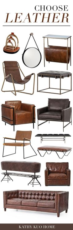 """Leather goods are considered to be """"king of fabrics,"""" with luxury high marks and durable quality. Click to shop! Industrial Light Fixtures, Industrial Lighting, Industrial Loft, Industrial Design Furniture, Urban Loft, Built In Storage, Home Improvement Projects, Storage Spaces, Home Goods"""