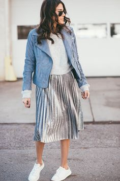 Silver Pleated Skirt & a Blue Moto Jacket