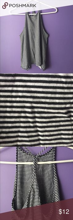Hollister High Neck Tank size small, black and white stripe pattern, high neck front and low back detail, perfect to show off a cute white or black bralette, basic cozy cotton material Hollister Tops Tank Tops