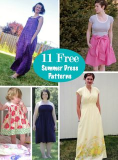 11 Free Summer Dress Patterns for Summer #sewing