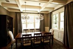 Cedar Hill Farmhouse – New Craftsman Home Photo Shoot - Like the idea of two light fixtures over dining table.  Different and unexpected (this is not my taste or style, but love the idea).