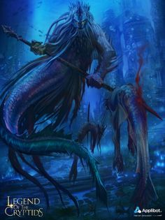 Artist: Herve Groussin aka Nuro - Title: Legend of the Cryptid - Card: Unknown Underwater Art, Underwater Creatures, Mythological Characters, Fantasy Characters, Fantasy Warrior, Fantasy Art, Dark Fantasy, Ocean Monsters, Sea Witch