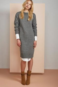 The Top Dress Trends On Pinterest — & How To Copy Them #refinery29  http://www.refinery29.com/2016/11/128396/pinterest-most-pinned-dresses-fall-2016#slide-14  Toss this cozy knit dress on over a collared shirt for a put-together look.Odom Knit Dress, $131, available at Finders....