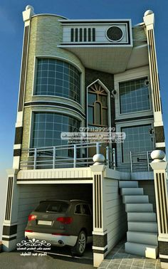 . Best Modern House Design, Minimalist House Design, Narrow House Designs, Cool House Designs, 3d House Plans, Modern House Plans, Bungalow House Design, House Front Design, 20x40 House Plans