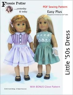 Pixie Faire Flossie Potter Little '50s Dress Doll Clothes Pattern for 18 inch AG Dolls - PDF by PixieFairePatterns on Etsy https://www.etsy.com/listing/238488620/pixie-faire-flossie-potter-little-50s
