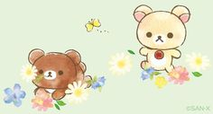 Embedded Rilakkuma Wallpaper, Bunny And Bear, Sanrio Characters, Cute Pins, Kawaii Drawings, Graphic Patterns, Cute Wallpapers, Cute Art, Note Cards