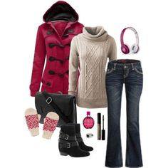 Pink and black winter outfit #cyber_monday #uggs