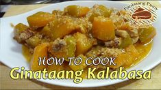Ginataang kalabasa or squash with coconut milk is one of the simplest Filipino vegetable recipes. This recipe has more pork in it, half of the amount of squa. Filipino Vegetable Recipes, Pinoy, Vegetable Dishes, Coconut Milk, Squash, Pork, Beef, Foods, Chicken