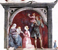 Lo Scheggia (Giovanni di Ser Giovanni detto) - Matrimonio mistico di Santa Caterina - affresco - c. 1440 - Chiesa di San Francesco, Arezzo