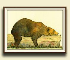 PRINT-Grizzly bear head portrait  print by SanMartinArtsCrafts