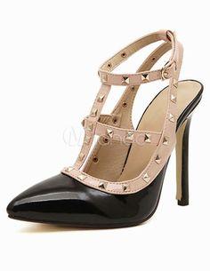 PU Leather T-Strap Pointed Toe Dress Sandals  Designer house's Rockstud pumps knock offs!
