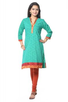 TURQUOISE SOLID COTTON JACQUARD KURTI WITH LEGGING