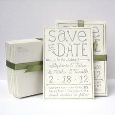 Linocut Save The Date cards, one sided, custom, hand carved, hand printed, recycled paper. $150.00, via Etsy.