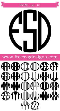 Free Font Round Monogram Font With Banner This Free Download Includes Otf And Ttf Files For Personal Cutting Projects Just Install And Use In Programs