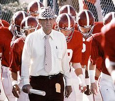 Bear Bryant.... exactly how I remember him.  At half time, I'd run to the end zone so I could stand above Bear & the team as they went into the locker room!