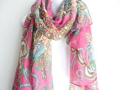 Bohemian Pink Scarfs, Long scarf, Boho Fashion scarfs by myfashioncreations, $15.99 @myfashioncreations #boho #scarfs #Spring