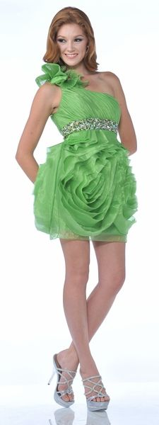 Green Flower Prom Dress Short Flower Single Strap Rhinestone Waist Train $157.99