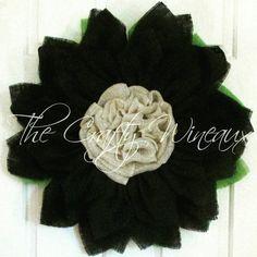 Black Burlap Flower Wreath, Burlap Sunflower Wreath, Halloween Wreath, Customizable Wreath - pinned by pin4etsy.com
