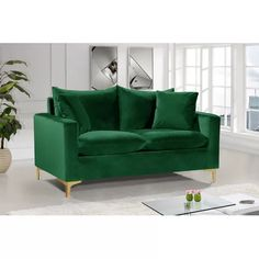 Shop Design Edge Aramac Green Velvet Loveseat with great price, The Classy Home Furniture has the best selection of Loveseats to choose from Bedroom Seating, Living Room Seating, Small Living Rooms, Living Room Furniture, Green Furniture, Living Spaces, Green Velvet Fabric, Velvet Material, Meridian Furniture
