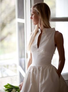 little white dress. Hair def would def look better up with this dress! Structured Fashion, Structured Dress, Beautiful Outfits, Cute Outfits, Day Dresses, Summer Dresses, Rehearsal Dinner Dresses, Little White Dresses, Dress To Impress