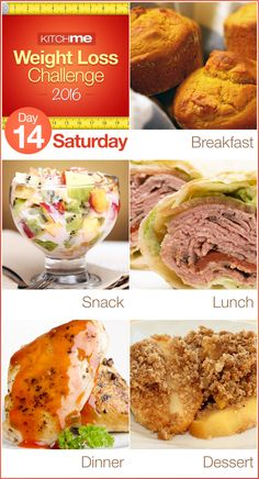Day 14 Meal Plan Recipes – Weight Loss Challenge for Weight Watchers - Pumpkin Muffins, Pudding Jello Fruit Fluff, BLT Wraps, Cola Chicken, and Apple Crisp