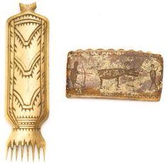 Inuit Eskimo ivory & bone artifacts with engraved animal effigies. Ivory comb. Bonhams Auctions.