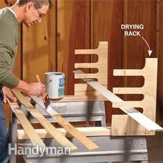 How to get the most from your sawhorses.  DIY a drying rack from scrap wood.