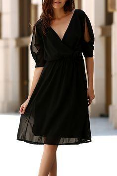 $12.77 Elegant V-Neck Split Sleeve Solid Color Wrapped Dress For Women