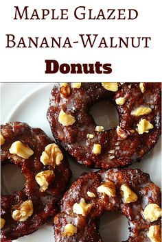 Maple Glazed Banana Walnut Donuts are super moist and delicious like banana bread, but are healthy!