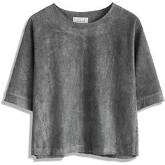 Chicwish Reindeer Faux Suede Grey Top (€39) ❤ liked on Polyvore featuring tops, t-shirts, shirts, clothes - tops, grey, gray shirt, gray t shirt, shirt tops, t shirt and faux suede shirt