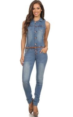 Details about DENIM SLEEVELESS JUMPSUIT FRONT ZIPPER BOYFRIEND ...