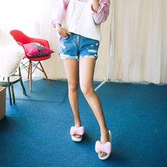 Qnigirls New Womens Attractive Moment Damaged Denim Shorts Cute Lovely Style #Qnigirls #Denim