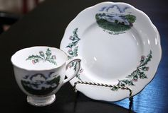 Queen Anne Fine Bone China England Teacup and by pinkdandyshop, $22.00