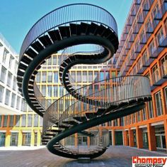 The Infinite Staircase by Olafur Eliasson located at the entrance of the KPMG office building in Munich, Germany.