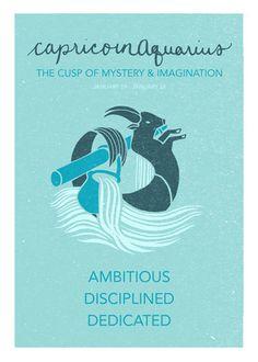 Capricorn Aquarius Cusp Poster. Astrological Cuspian by ZodiacZone