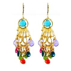 Jeweled+Liv+Earring,+Hand-wrapped+Gold+Wire+Circles+with+Various+Brightly+Colored+Gemstones by Amanda Sterett