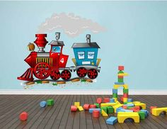 Nursery Wall Decals,Train Locomotive Fabric Wall Decal, Small Train Sticker, Repositionable. Reusable
