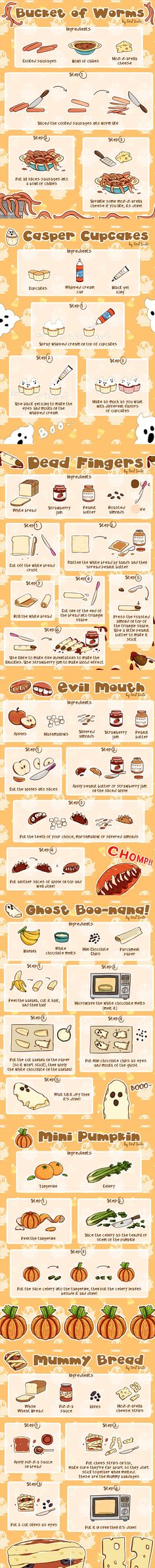 Be afraid, be very afraid! Halloween is coming, and here's some easy food recipe  ideas that you can make with your kids to give your home a spooky vibe! Have a Happy Halloween from First Smile! Follow us #FirstSmileApp for more Baby Humor, Partying Hard, Funny Babies, Happy Halloween, Recipe Ideas, Easy Meals, Smile, Canning, How To Make