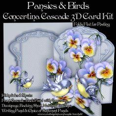 Pansies & Birds Concertina Cascade 3D Card Kit