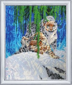 Snow Leopards DIY beaded embroidery kit, beads stitching, wall art