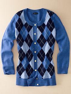 Talbots - Argyle Cardi - I love argyle! Fashionable Outfits, Casual Outfits, Cute Outfits, Fashion Outfits, Sweater Coats, Sweater Shirt, Sweater Outfits, Pub Golf, Pub Ideas