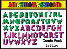 Comic Book Style Alphabet Letters