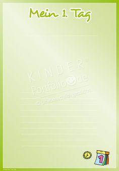"""Kindergarten Portfolio Vorlage """"Mein 1. Tag"""""""