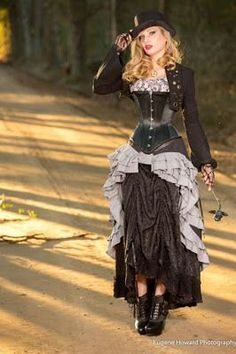 From the Steampunk Fashion Guide's Guide to Corsets - Longline corsets: Steampunk Lady in Skirt