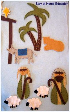 DIY Felt Nativity Pattern Set with free printable pattern.  Thank you #Stayathomeeducator.com for all your work in showing how-to create this felt set.